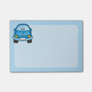 Blue cartoon car post-it notes