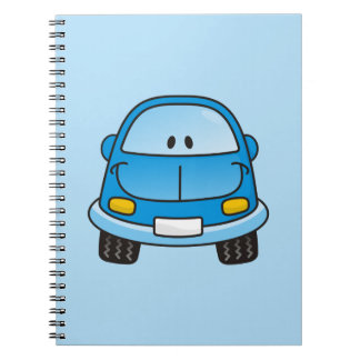 Blue cartoon car spiral notebooks