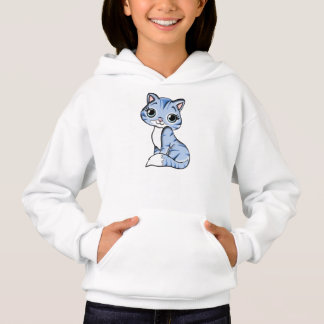Blue Cartoon Cat Girls' Hanes ComfortBlend® Hoodie