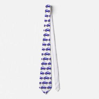 Blue Cartoon Coupe Car Tie
