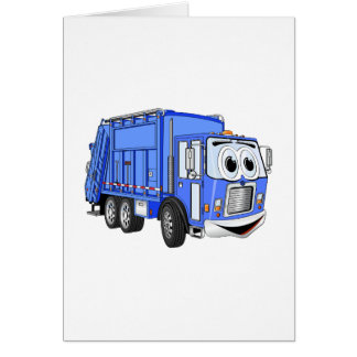 Blue Cartoon Garbage Truck Cartoon Card