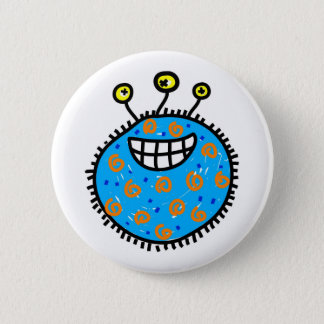 Blue Cartoon Germ 6 Cm Round Badge