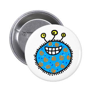 Blue Cartoon Germ 6 Cm Round Badge