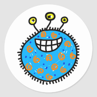 Blue Cartoon Germ Classic Round Sticker