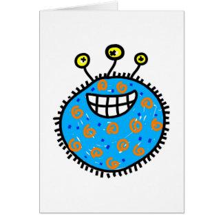 Blue Cartoon Germ Greeting Card
