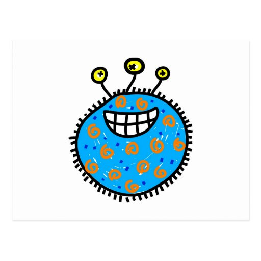 Blue Cartoon Germ Postcard