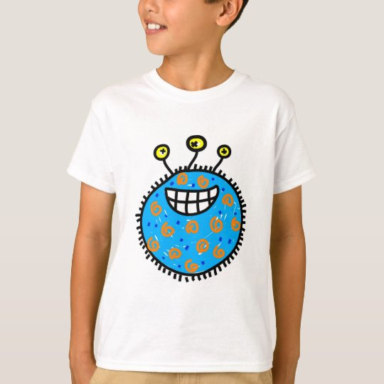 Blue Cartoon Germ T-Shirt