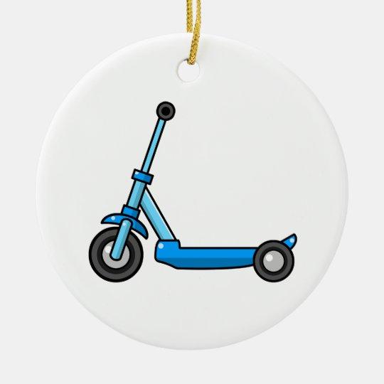 Blue Cartoon Kick/Push Scooter Christmas Ornament