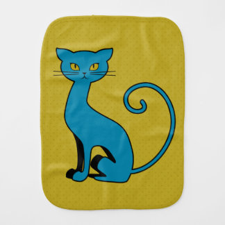 Blue Cartoon Kitty - Burp Cloth