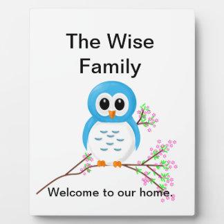 Blue Cartoon Owl on a Branch Photo Plaque