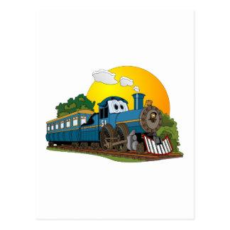 Blue Cartoon Passenger Steam Engine Postcard