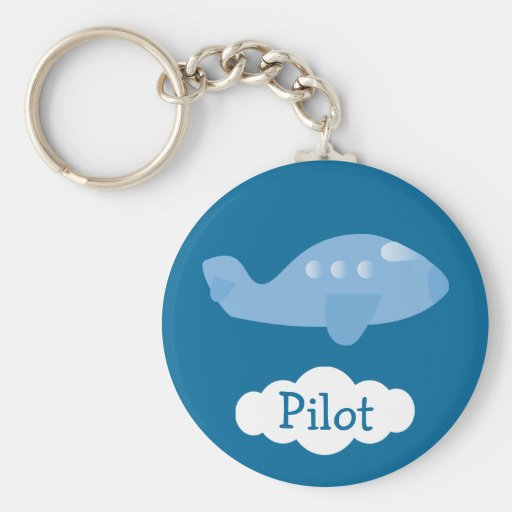 Blue Cartoon Plane Customizable Pilot Keychains