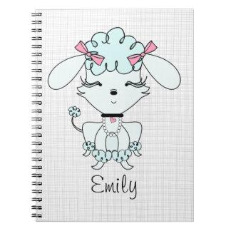 Blue Cartoon Poodle Personalised Notebook