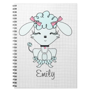 Blue Cartoon Poodle Personalized Notebook