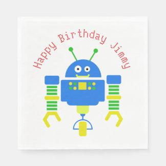 Blue Cartoon Robot Birthday Party Paper Napkins