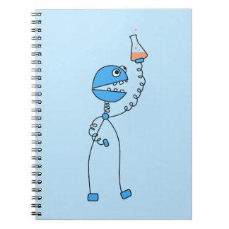 Blue Cartoon Robot Chemistry Geek Note Book