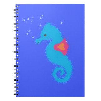 Blue Cartoon Seahorse Notebook
