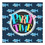 Blue Cartoon Shark Pattern 13 Cm X 13 Cm Square Invitation Card