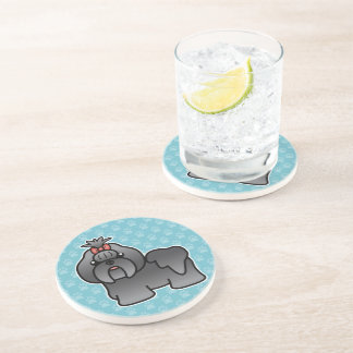 Blue Cartoon Shih Tzu Coaster