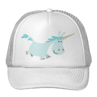 Blue Cartoon Unicorn  trucker cap