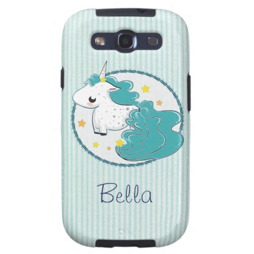 Blue cartoon unicorn with star Samsung Galaxy Case Galaxy S3 Cases