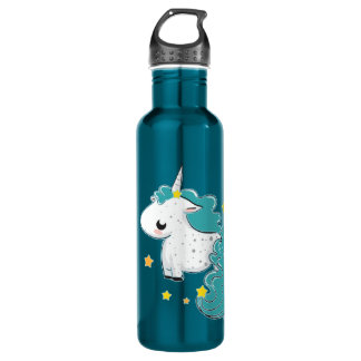 Blue cartoon unicorn with stars 710 ml water bottle