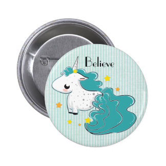 Blue cartoon unicorn with stars button