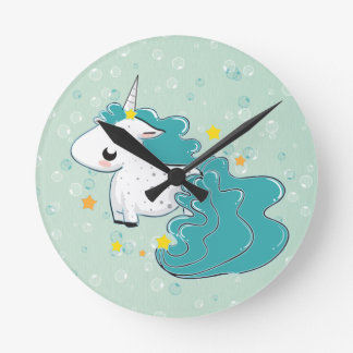 blue cartoon unicorn with stars clock