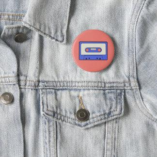 Blue Cassette 6 Cm Round Badge