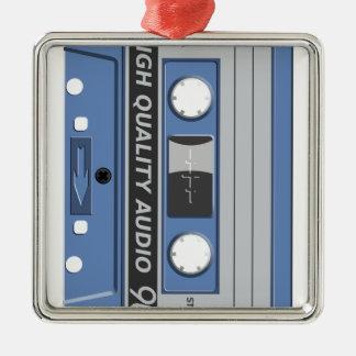 Blue Cassette Retro Silver-Colored Square Decoration