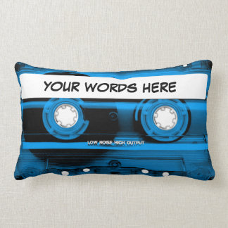 Blue Cassette Tape Personalised Lumbar Cushion