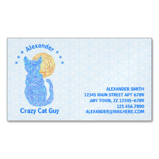 Blue Cat And The Moon Cat Lover Feline Kitten Magnetic Business Cards