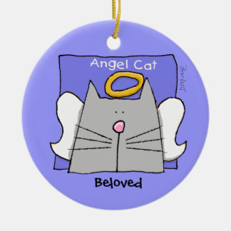 Blue Cat Angel Personalize Round Ceramic Decoration