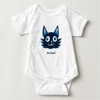 blue cat cartoon style vector illustration baby bodysuit