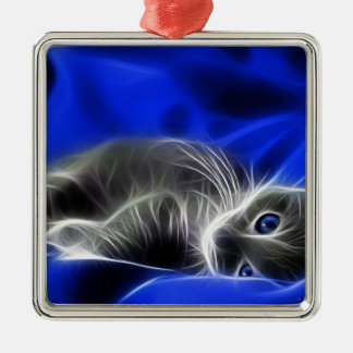 blue cat christmas ornament