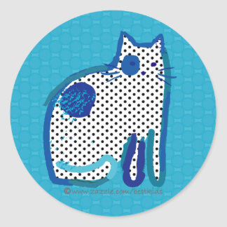 'blue cat' digital painting seal or sticker