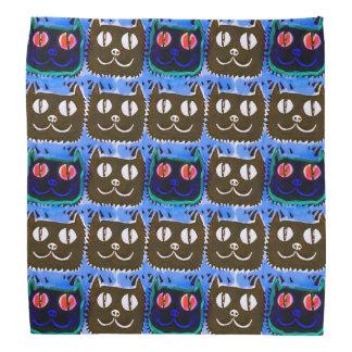 blue cat head tiled pattern illustration inverse kerchiefs