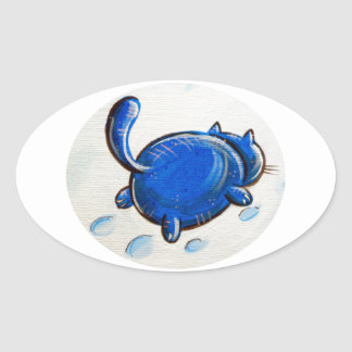 Blue Cat In The Snow Oval Sticker