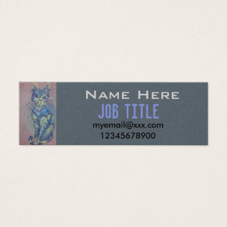 blue cat on pink business card