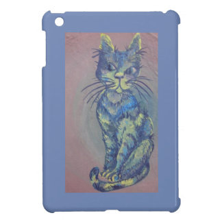blue cat on pink i-pad mini case cover for the iPad mini