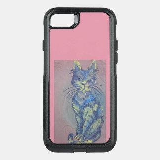 blue cat on pink phone case