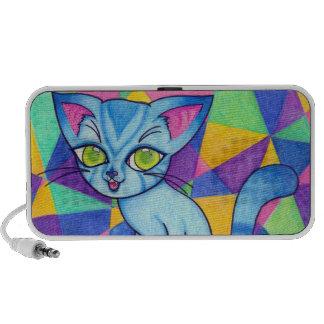 Blue cat on Technocolour background Portable Speaker