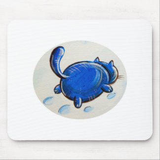 Blue Cat On The Snow Mouse Pads