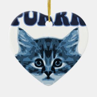 Blue Cat Purrr! Ceramic Heart Decoration