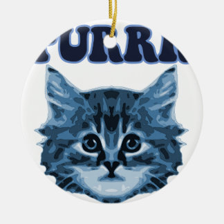 Blue Cat Purrr! Round Ceramic Decoration
