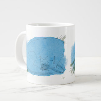 Blue cat sleeping jumbo mug