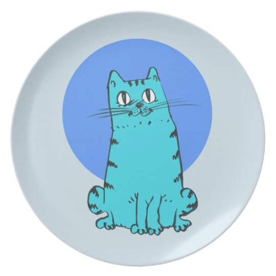blue cat sweet cartoon kitty plate