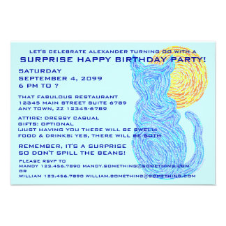 Blue Cat The Moon Surprise Birthday Party Invite