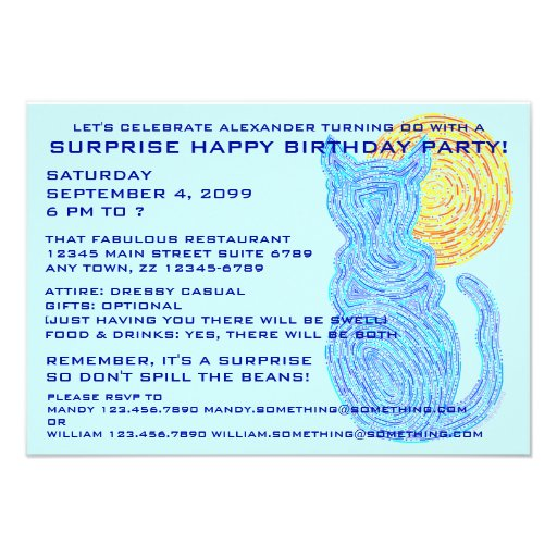 Blue Cat & The Moon Surprise Birthday Party Invite