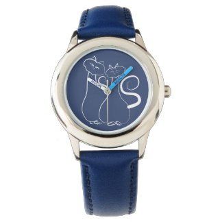 Blue Cats Love Romantic Minimal Cool Drawing Cute Wristwatch